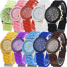 Unisex Delicate Geneva Silicone Band Jelly Gel Quartz Analog Sports Wrist Watch