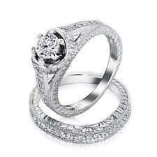Bling Jewelry 1.5 ct Sterling Silver CZ Vintage Engagement Wedding Ring Set