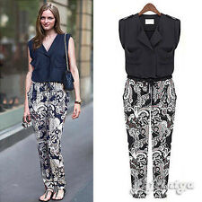 Vintage Women Roll-Up Sleeve Floral Print Elastic Casual Summer Jumpsuit Overall