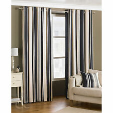 Vertical Stripe Fully Lined Curtains – Ring Top Cream Grey & Black Curtain Pair