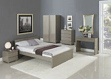 New Grade A High Gloss Bedroom Furniture   Cream   Mattresses   Free Delivery