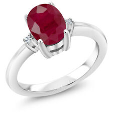 1.93 Ct Oval Red Ruby White Topaz 925 Sterling Silver 3 Stone Engagement Ring