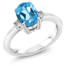 1.53 Ct Oval Swiss Blue Topaz White Diamond 925 Sterling Silver Ring