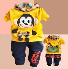 new Cute Monkey Baby Boy Cotton outfits 2PC Jacket+Pants Toddler Clothes set