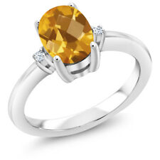 1.28 Ct Oval Checkerboard Yellow Citrine 925 Sterling Silver Ring