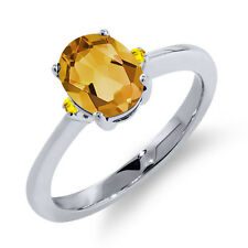 1.31 Ct Oval Yellow Citrine Yellow Sapphire 925 Sterling Silver Ring