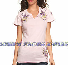 SINFUL Dutchess S3285 Women`s Short Sleeve Pink Top By Affliction