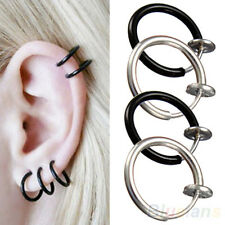 GLAMOR CLIP ON HOOP BODY NOSE LIP EAR PIERCING RING PUNK GOTH CHIC STUD EARRINGS