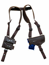 NEW Brown Leather Shoulder Holster w/ Dbl Magazine Pouch Smith&Wesson Compact