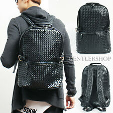 Mens Fashion Textured Black Faux Leather Weave Pattern Backpack, GENTLERSHOP