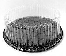 """Wilkinson G33 10"""" Round Black Display Cake Container w/Clear Dome Lid 1-2 Layer"""
