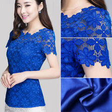 HOT Women Semi Sheer Sleeve Embroidery Floral Lace Crochet T Shirt Top Blouse WW