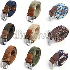 UK Unisex Men Women Elastic Stretch Woven Canvas Leather Pin Buckle Waist Belt