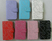 Diamond Bling Sparkly Flip Magnetic Wallet PU Leather Case Cover for LG phone #1