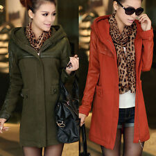 NEW Winter Autumn Hooded Splicing Leather Slim Long Jacket Women Trench Coat WW