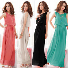 Women BOHO Maxi Dress Chiffon Sleeveless Pleated Long Cocktail Sundress S-3XL