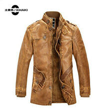 New Mens Fashion PU Leather Stand Collar Casual Coat Long Jacket Parka 3 Color