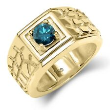 0.55 Ct Round Blue SI1/SI2 Diamond 14K Yellow Gold Men's Solitaire Ring