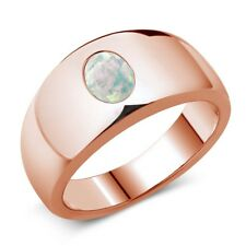 1.05 Ct Oval Cabouchon White AAA Opal 14K Rose Gold Men's Ring