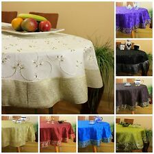 """Hand Embroidered Round Tablecloth (70"""" Round & 85"""" Round Sizes)"""