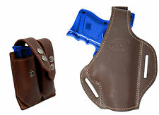 New Brown Leather Pancake Gun Holster + Dbl Mag Pouch Smith&Wesson Comp 9mm 40