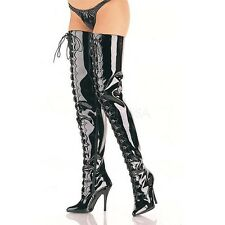 """PLEASER GOTHIC D-RING CROTCH MOTORCYCLE 5"""" HEELS SINGLE SOLE THIGH-HIGH BOOTS"""
