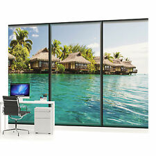 Paradise Water Villas Window View Photo Wallpaper Wall Mural (CN-497VE)