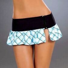 New 5001 Blue Plaid Sexy PLEATED DANCE Wear ROLLER MICRO MINI SKIRT RAVE S M L