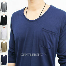 Mens Fashion Loose Fit Long Sleeve Pocket T-shirt - 5 Colors, GENTLERSHOP