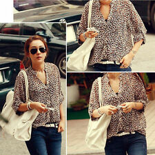 Women Casual T Shirt Ladies Korean Fashion Sexy Leopard Chiffon Top Blouses