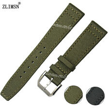 20 21 22mm NEW Black or Green Nylon leather bottom Pin buckle WATCH BAND strap
