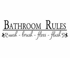 WALL QUOTE DECAL, VINYL REMOVABLE STICKER - BATHROOM RULES (B001)