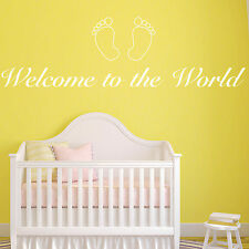 Baby Wall Sticker - Welcome to the World Nursery Baby Bedroom Decal Art Quote