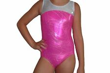 New girls gymnastic leotard metallic pink and silver top