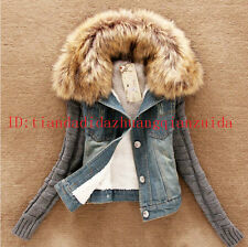 New Winter Ladies Lamb Fur Collar Slim Short Denim Blue Jacket Women Coat