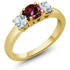 1.08 Ct Round Red Rhodolite Garnet Sky Blue Aquamarine 14K Yellow Gold Ring