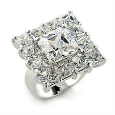 Silver-Tone Rhodium Plating Square Clear Cubic Zirconia Cocktail Ring (XL15)