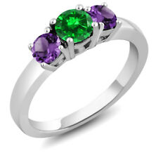 1.34 Ct Round Green Simulated Emerald Purple Amethyst 925 Sterling Silver Ring