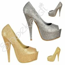 Womens Sparkly Glitter Peep Toe Stiletto Party Prom High Heel Shoes Silver Gold