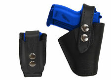 Barsony OWB Black Leather Belt Holster w/Mag Pouch Llama NA Arms Mini 22 25 380