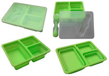 COLLAPSIBLE 3 compartment LUNCH BOX FOOD STORAGE CONTAINER with SPORK