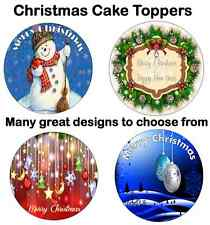 CHRISTMAS CAKE TOPPERS Topper edible decoration circle 7.5 Personalised xmas