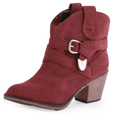 Rocket Dog Satire Burnie Womens Synthetic Wine Cowboy Boots New Shoes All Sizes