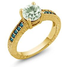 1.42 Ct Round Green Amethyst Blue Diamond 18K Yellow Gold Engagement Ring