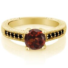 1.67 Ct Round Red Garnet Black Diamond 925 Yellow Gold Plated Silver Ring