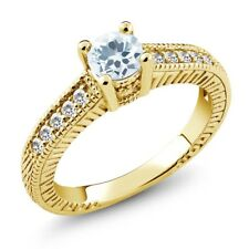 0.55 Ct Sky Blue Aquamarine White Sapphire 925 Yellow Gold Plated Silver Ring