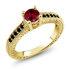 0.77 Ct Round Red Created Ruby Black Diamond 18K Yellow Gold Engagement Ring