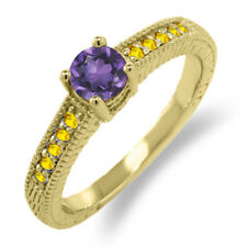 0.75 Ct Round Purple Amethyst Yellow Sapphire 925 Yellow Gold Plated Silver Ring