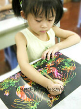 10 Sheet 16K Colorful Scratch Art Paper Painting Paper having Free Drawing Stick