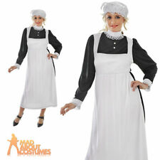 Ladies Victorian Maid Fancy Dress Costume Florence Nightingale Womens Outfit